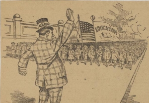 "Cartoon: ""Stop!"" Philadelphia Record, Oct. 12, 1907"